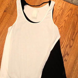 Heather Black and white layered tank-like new